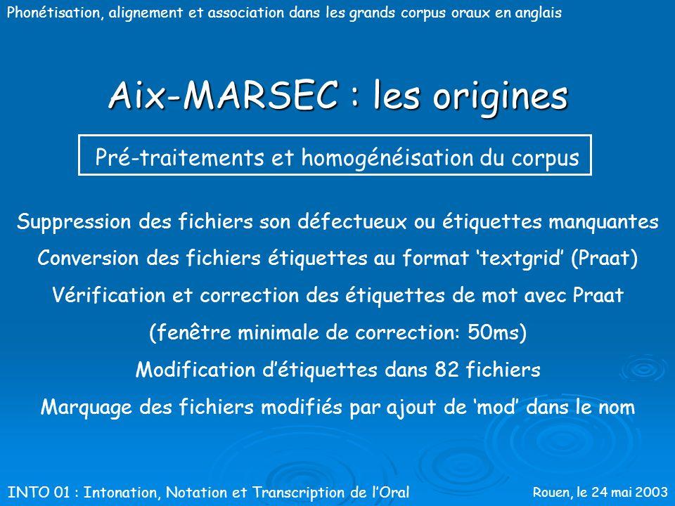 Rouen, le 24 mai 2003 Phonétisation, alignement et association dans les grands corpus oraux en anglais Aix-MARSEC : les origines 14 symboles ASCII pou