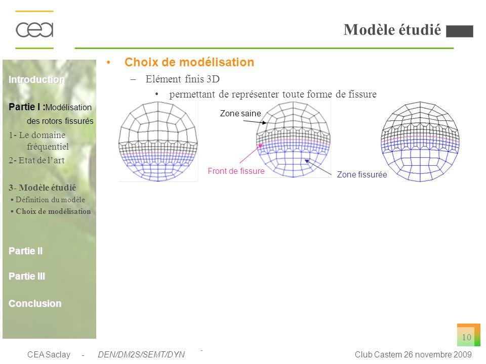 CEA Saclay - DEN/DM2S/SEMT/DYNClub Castem 26 novembre 2009 10 Modèle étudié Choix de modélisation –Elément finis 3D permettant de représenter toute fo