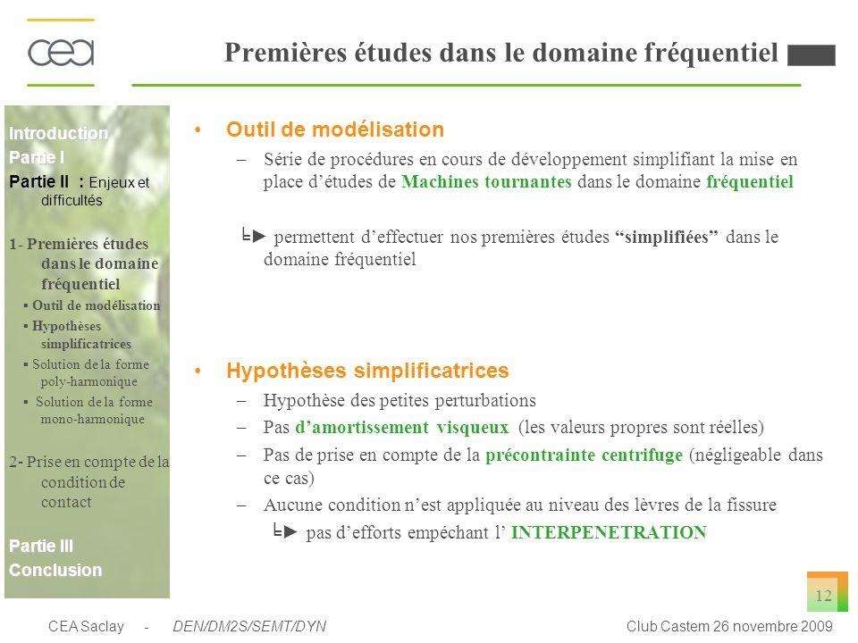 CEA Saclay - DEN/DM2S/SEMT/DYNClub Castem 26 novembre 2009 12 Premières études dans le domaine fréquentiel Outil de modélisation –Série de procédures