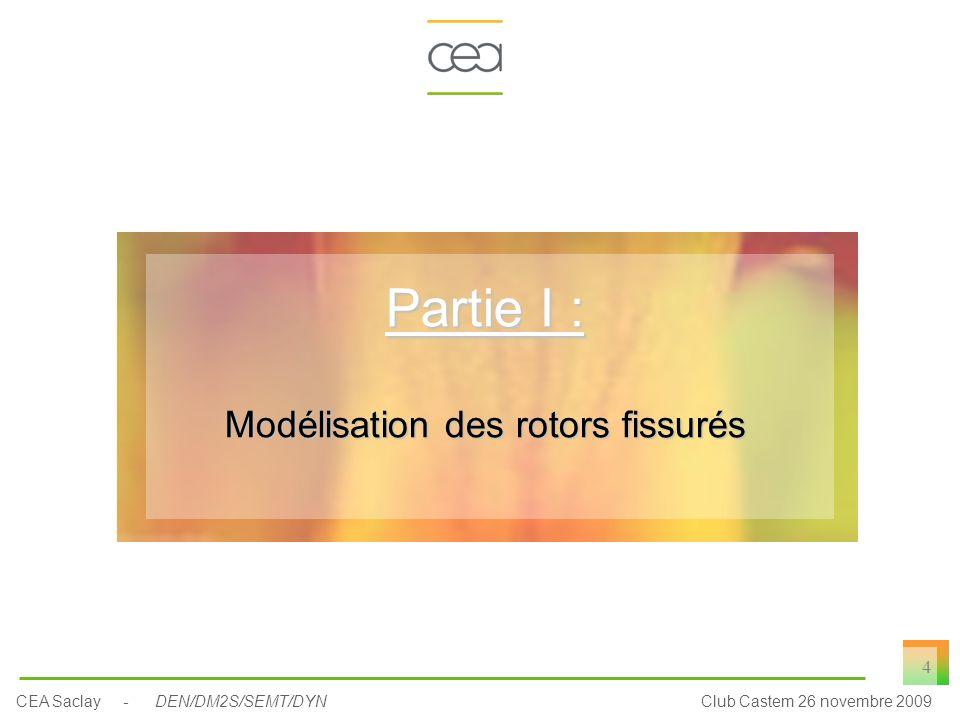 CEA Saclay - DEN/DM2S/SEMT/DYNClub Castem 26 novembre 2009 4 Partie I : Modélisation des rotors fissurés