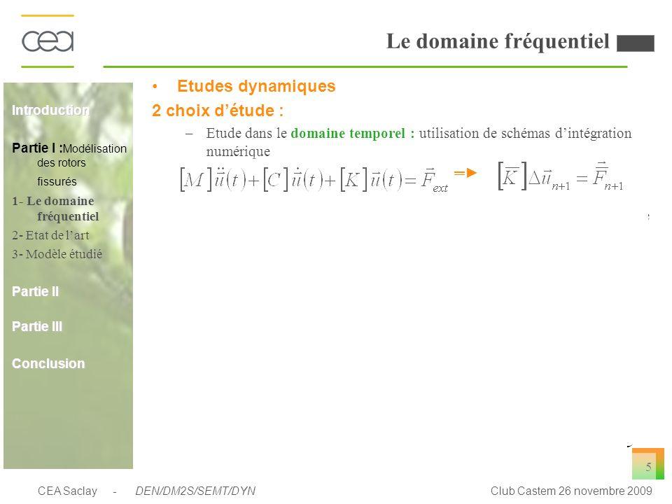 CEA Saclay - DEN/DM2S/SEMT/DYNClub Castem 26 novembre 2009 5 Le domaine fréquentiel Etudes dynamiques 2 choix détude : –Etude dans le domaine temporel