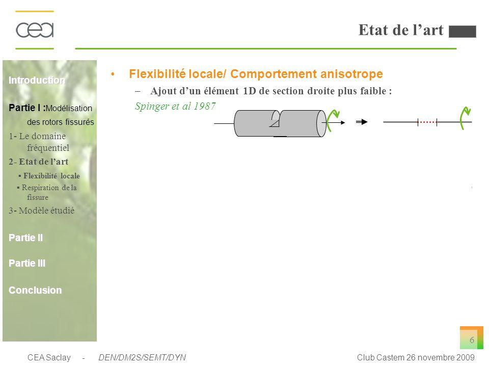 CEA Saclay - DEN/DM2S/SEMT/DYNClub Castem 26 novembre 2009 6 Etat de lart Flexibilité locale/ Comportement anisotrope –Ajout dun élément 1D de section