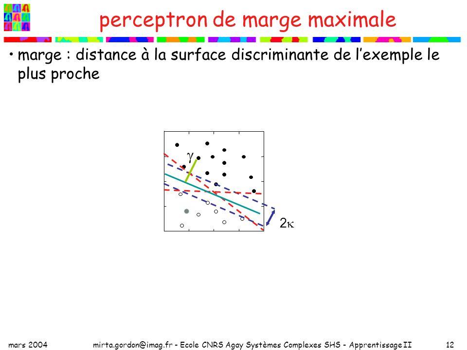 mars 2004mirta.gordon@imag.fr - Ecole CNRS Agay Systèmes Complexes SHS - Apprentissage II12 marge : distance à la surface discriminante de lexemple le plus proche perceptron de marge maximale 2