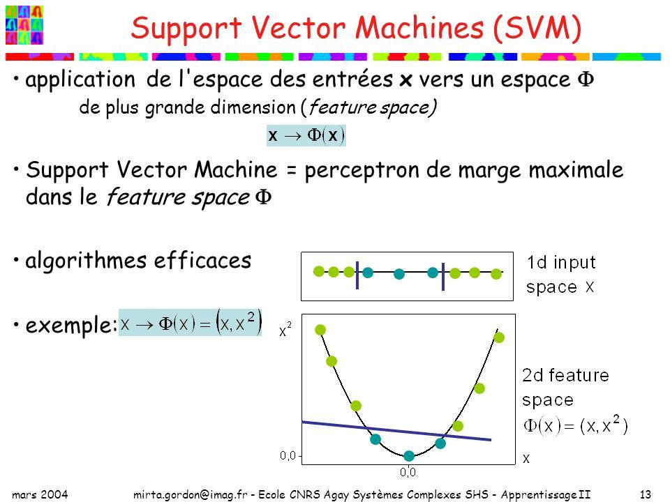 mars 2004mirta.gordon@imag.fr - Ecole CNRS Agay Systèmes Complexes SHS - Apprentissage II13 Support Vector Machines (SVM) application de l espace des entrées x vers un espace de plus grande dimension (feature space) Support Vector Machine = perceptron de marge maximale dans le feature space algorithmes efficaces exemple: