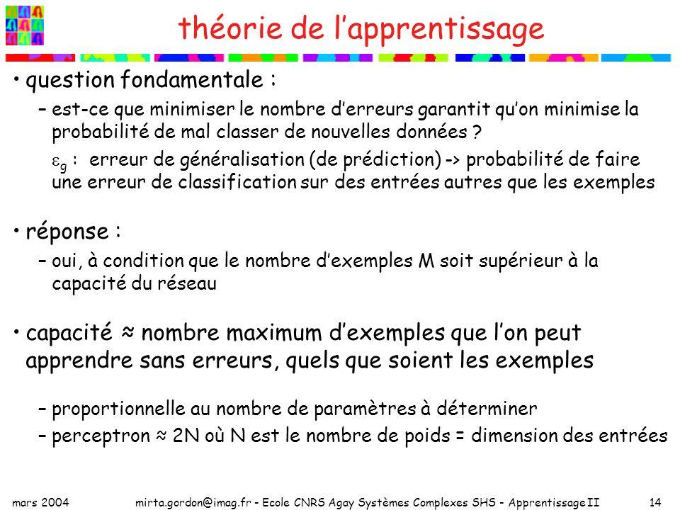 mars 2004mirta.gordon@imag.fr - Ecole CNRS Agay Systèmes Complexes SHS - Apprentissage II14 théorie de lapprentissage question fondamentale : –est-ce que minimiser le nombre derreurs garantit quon minimise la probabilité de mal classer de nouvelles données .
