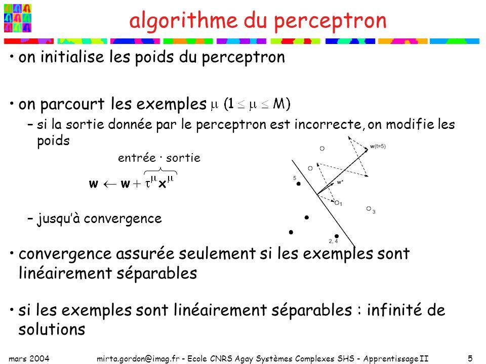 mars 2004mirta.gordon@imag.fr - Ecole CNRS Agay Systèmes Complexes SHS - Apprentissage II5 algorithme du perceptron on initialise les poids du perceptron on parcourt les exemples –si la sortie donnée par le perceptron est incorrecte, on modifie les poids –jusquà convergence convergence assurée seulement si les exemples sont linéairement séparables si les exemples sont linéairement séparables : infinité de solutions entrée · sortie
