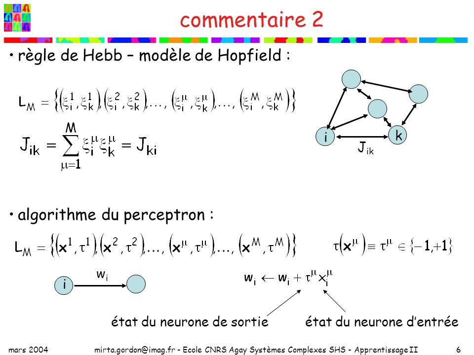 mars 2004mirta.gordon@imag.fr - Ecole CNRS Agay Systèmes Complexes SHS - Apprentissage II6 commentaire 2 règle de Hebb – modèle de Hopfield : algorithme du perceptron : état du neurone de sortieétat du neurone dentrée wiwi i k J ik i