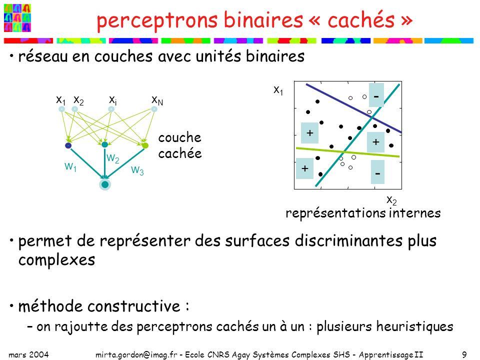 mars 2004mirta.gordon@imag.fr - Ecole CNRS Agay Systèmes Complexes SHS - Apprentissage II9 perceptrons binaires « cachés » réseau en couches avec unités binaires permet de représenter des surfaces discriminantes plus complexes méthode constructive : –on rajoutte des perceptrons cachés un à un : plusieurs heuristiques x1x1 x2x2 xNxN xixi w1w1 w2w2 w3w3 x1x1 x2x2 + + + - - couche cachée représentations internes