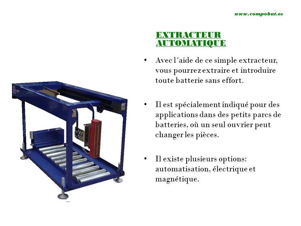 www.compobat.es EXTRACTEUR AUTOMATIQUE Avec l´aide de ce simple extracteur, vous pourrez extraire et introduire toute batterie sans effort. Il est spé