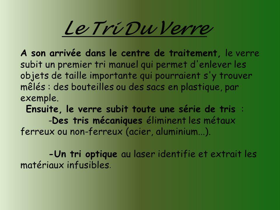 Le Tri Du Verre A son arrivée dans le centre de traitement, le verre subit un premier tri manuel qui permet d'enlever les objets de taille importante