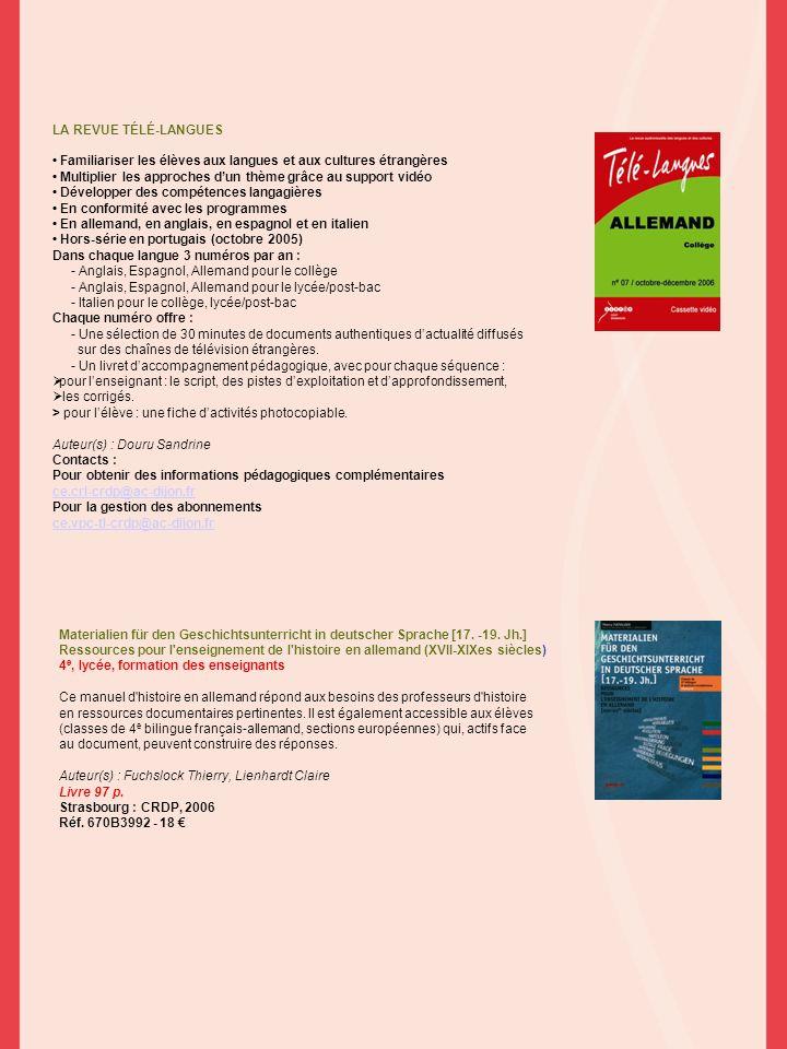 Materialien für den Geschichtsunterricht in deutscher Sprache [17. -19. Jh.] Ressources pour l'enseignement de l'histoire en allemand (XVII-XIXes sièc