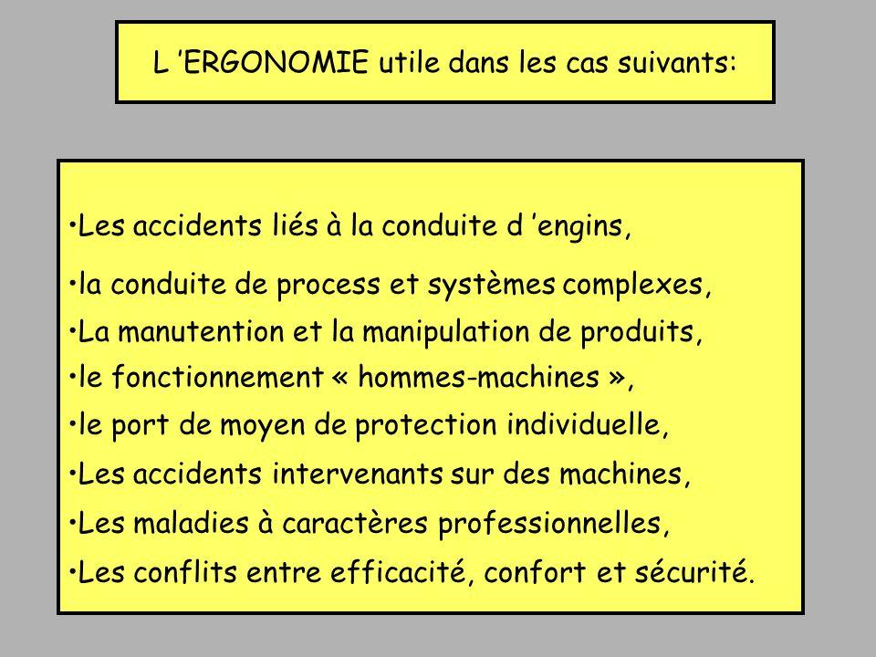 L ERGONOMIE utile dans les cas suivants: Les accidents liés à la conduite d engins, la conduite de process et systèmes complexes, La manutention et la