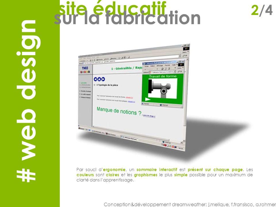 Web design Conception&développement dreamweather: j.melique, f.fransisco, a.rohmer Par souci d ergonomie, un sommaire interactif est présent sur chaque page.