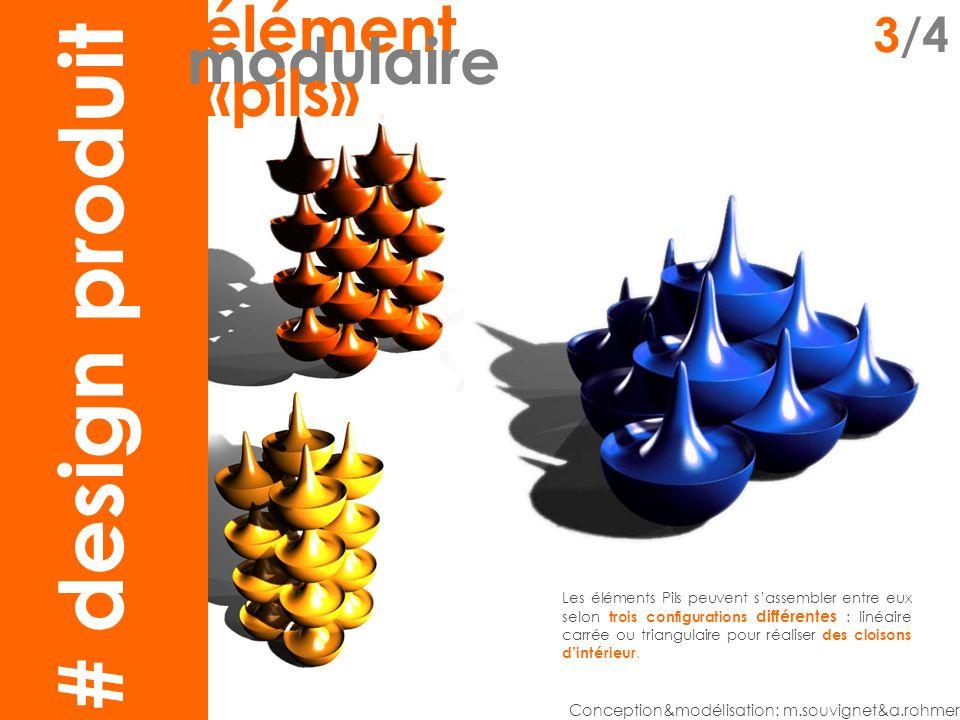 claustra2 élément 3/4 modulaire «pils» Conception&modélisation: m.souvignet&a.rohmer Les éléments Pils peuvent sassembler entre eux selon trois configurations différentes : linéaire carrée ou triangulaire pour réaliser des cloisons dintérieur.