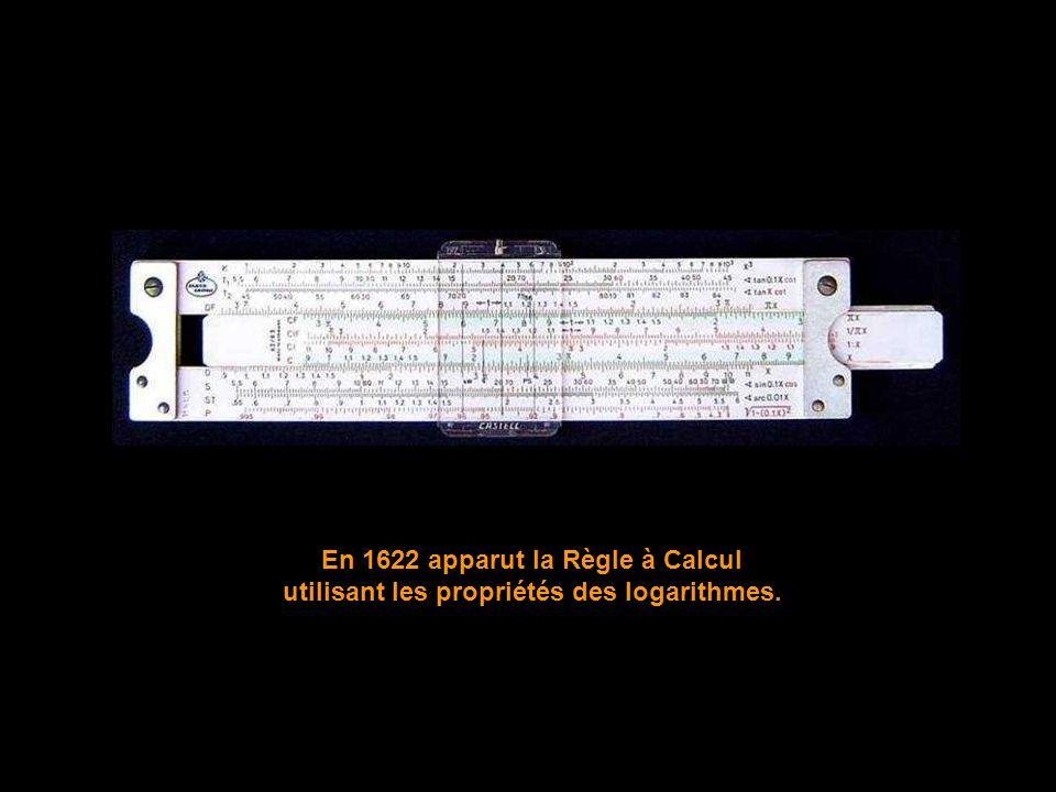 En 1622 apparut la Règle à Calcul utilisant les propriétés des logarithmes.