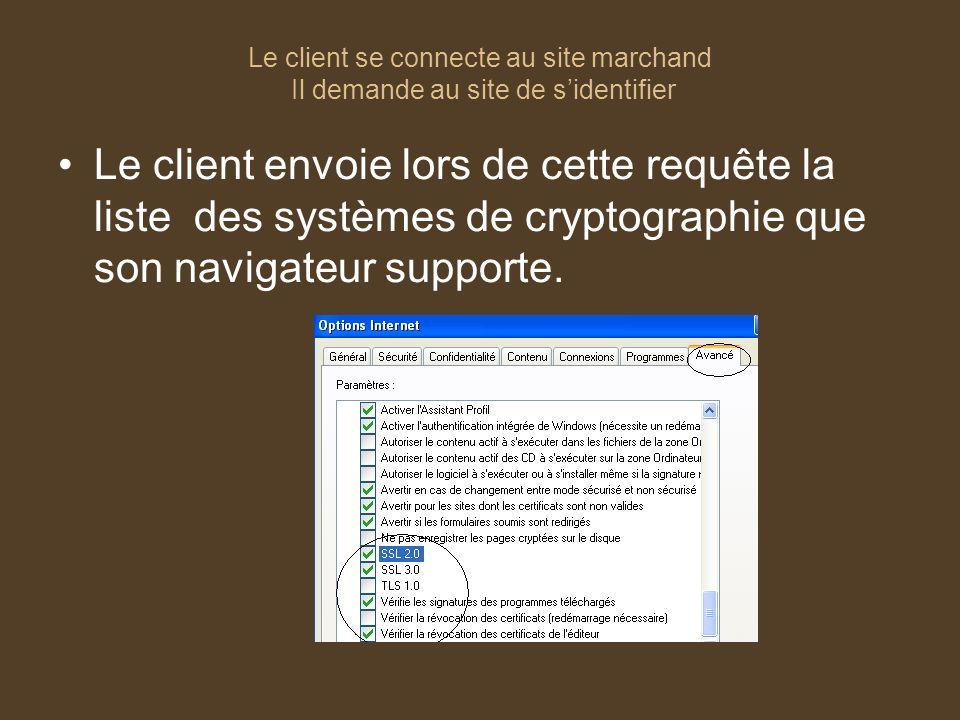 Le client se connecte au site marchand Il demande au site de sidentifier Le client envoie lors de cette requête la liste des systèmes de cryptographie