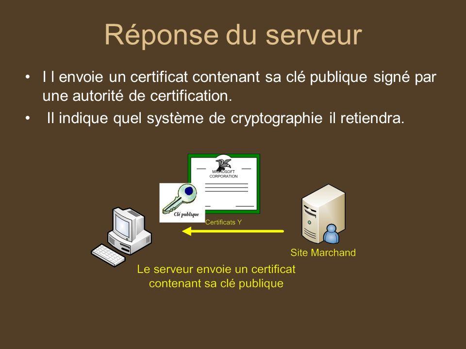 Réponse du serveur I l envoie un certificat contenant sa clé publique signé par une autorité de certification. Il indique quel système de cryptographi