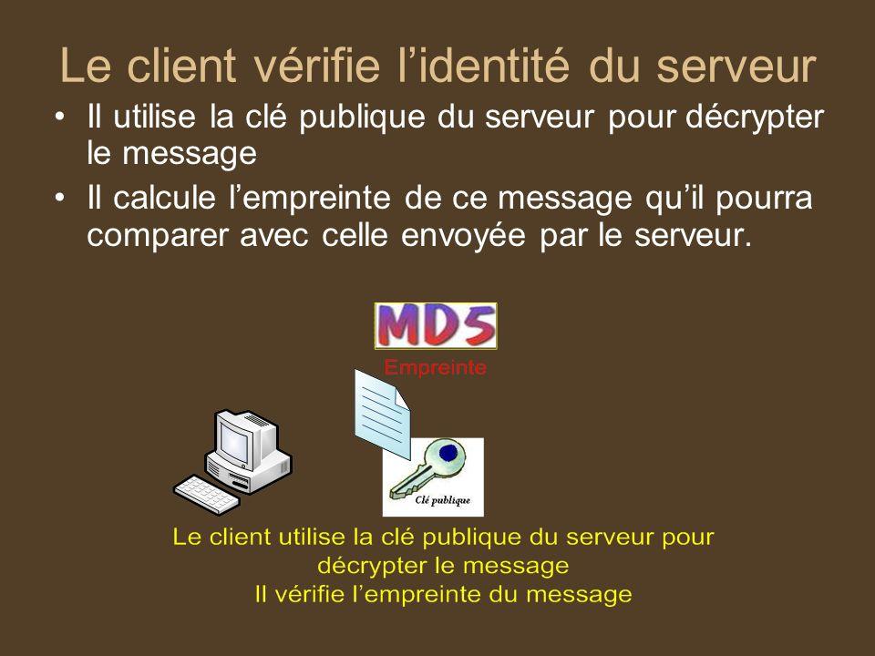 Le client vérifie lidentité du serveur Il utilise la clé publique du serveur pour décrypter le message Il calcule lempreinte de ce message quil pourra