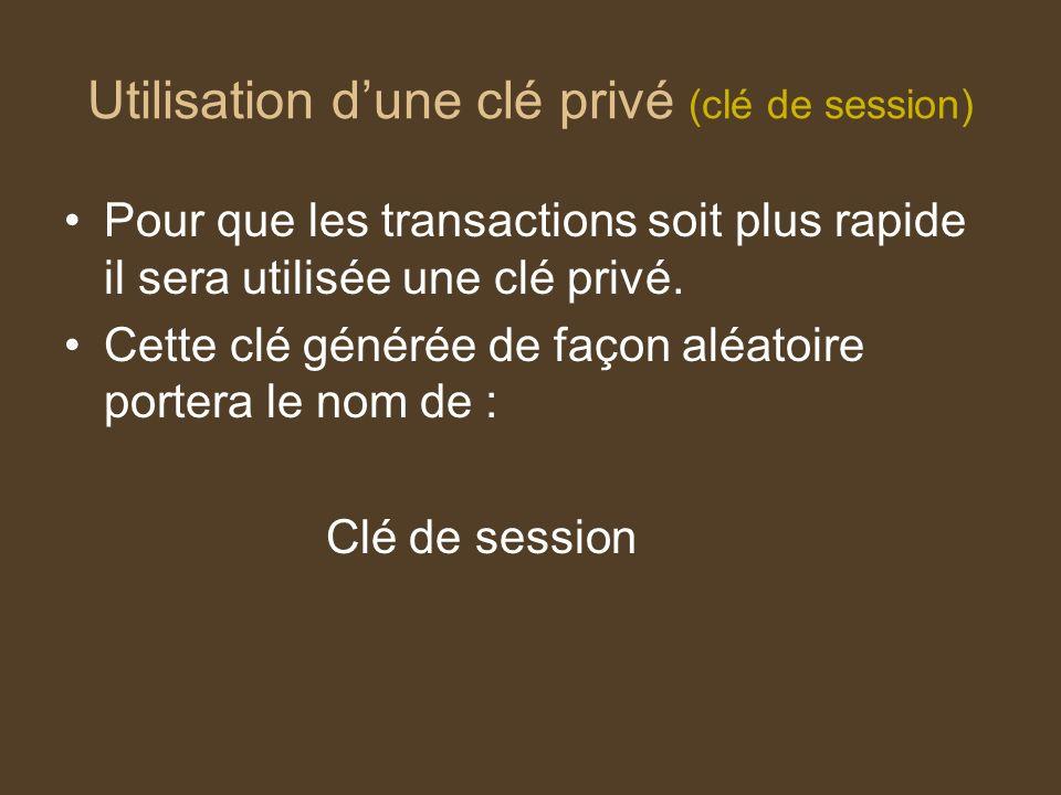 Utilisation dune clé privé (clé de session) Pour que les transactions soit plus rapide il sera utilisée une clé privé. Cette clé générée de façon aléa