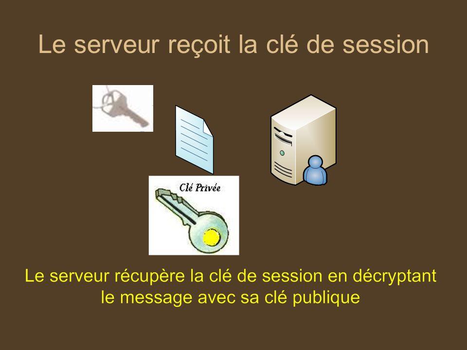 Le serveur reçoit la clé de session