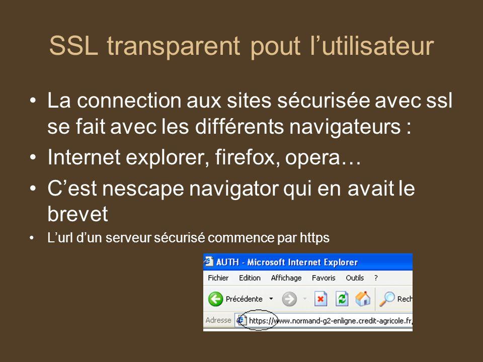 SSL transparent pout lutilisateur La connection aux sites sécurisée avec ssl se fait avec les différents navigateurs : Internet explorer, firefox, ope
