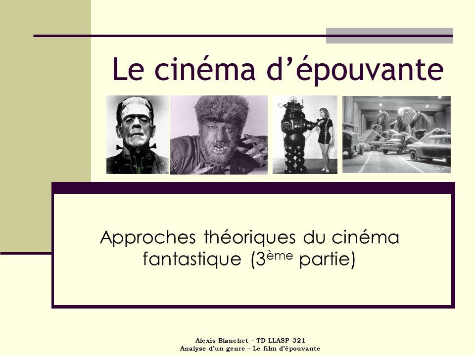 Alexis Blanchet – TD LLASP 321 Analyse dun genre – Le film dépouvante Le cinéma dépouvante Approches théoriques du cinéma fantastique (3 ème partie)