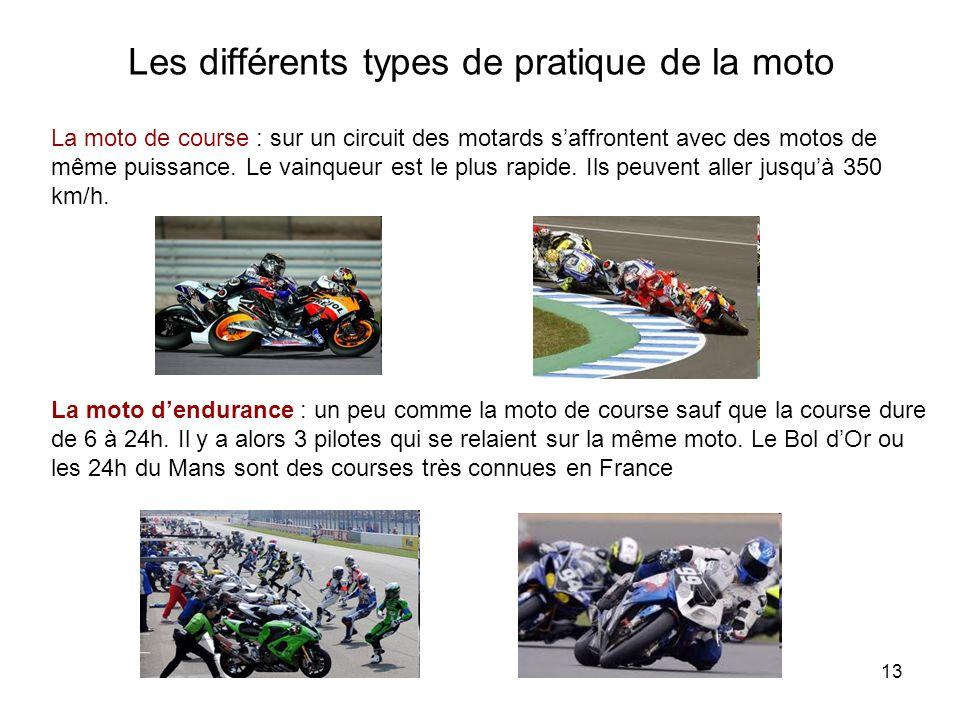 13 Les différents types de pratique de la moto La moto de course : sur un circuit des motards saffrontent avec des motos de même puissance.