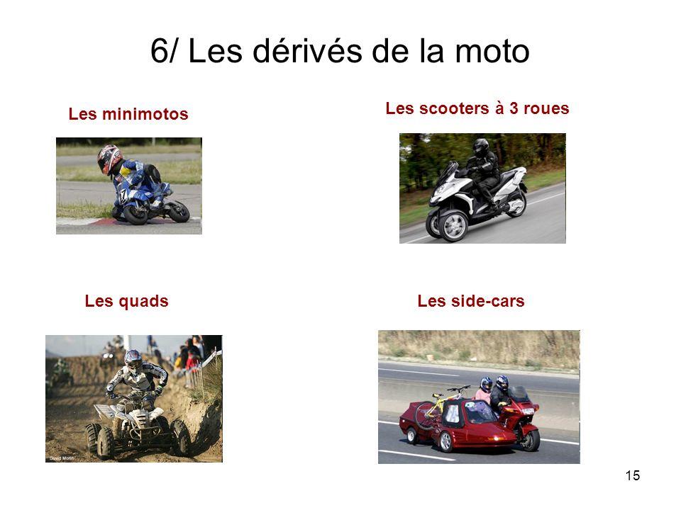 15 6/ Les dérivés de la moto Les minimotos Les scooters à 3 roues Les quadsLes side-cars