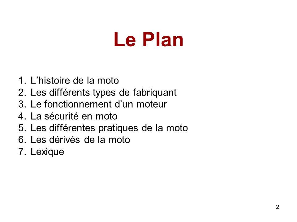 2 Le Plan 1.Lhistoire de la moto 2.Les différents types de fabriquant 3.Le fonctionnement dun moteur 4.La sécurité en moto 5.Les différentes pratiques de la moto 6.Les dérivés de la moto 7.Lexique