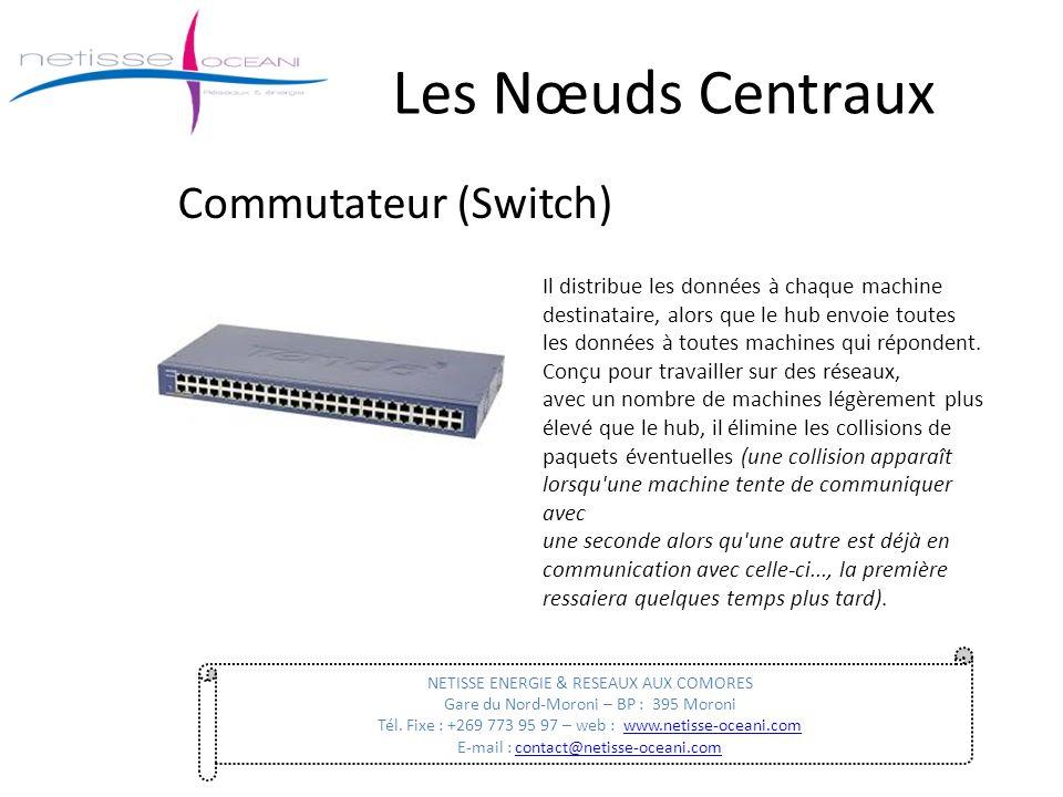 Les Nœuds Centraux Commutateur (Switch) NETISSE ENERGIE & RESEAUX AUX COMORES Gare du Nord-Moroni – BP : 395 Moroni Tél. Fixe : +269 773 95 97 – web :