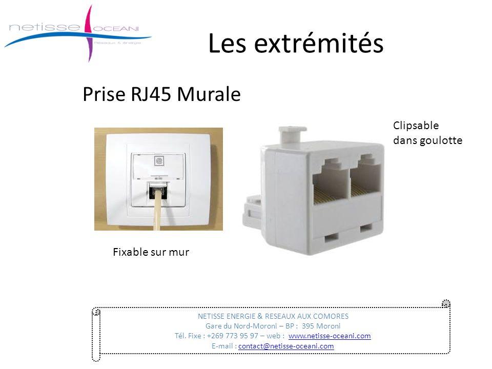 Les extrémités Prise RJ45 Murale NETISSE ENERGIE & RESEAUX AUX COMORES Gare du Nord-Moroni – BP : 395 Moroni Tél. Fixe : +269 773 95 97 – web : www.ne