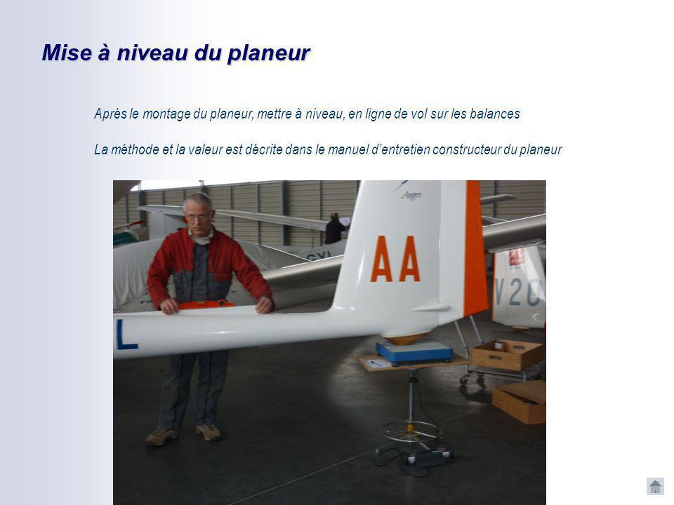 Masse des ENP Avant de monter le planeur peser séparément les éléments du planeur: Aile droite Aile gauche Fuselage complet avec tableau de bord équip