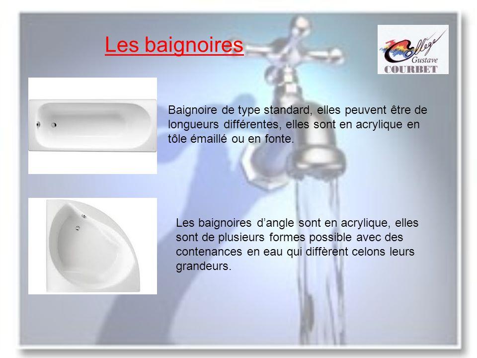 Les baignoires Baignoire de type standard, elles peuvent être de longueurs différentes, elles sont en acrylique en tôle émaillé ou en fonte. Les baign