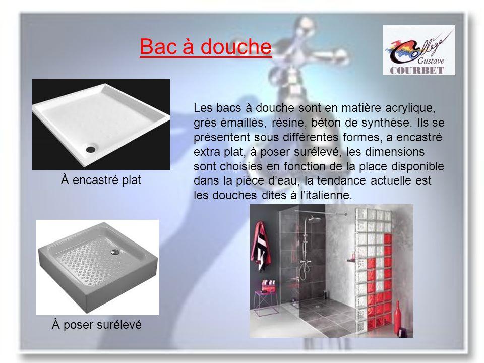 Bac à douche À encastré plat À poser surélevé Les bacs à douche sont en matière acrylique, grés émaillés, résine, béton de synthèse. Ils se présentent