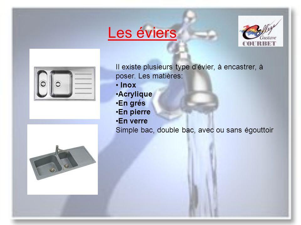 Les éviers Il existe plusieurs type dévier, à encastrer, à poser. Les matières: Inox Acrylique En grés En pierre En verre Simple bac, double bac, avec