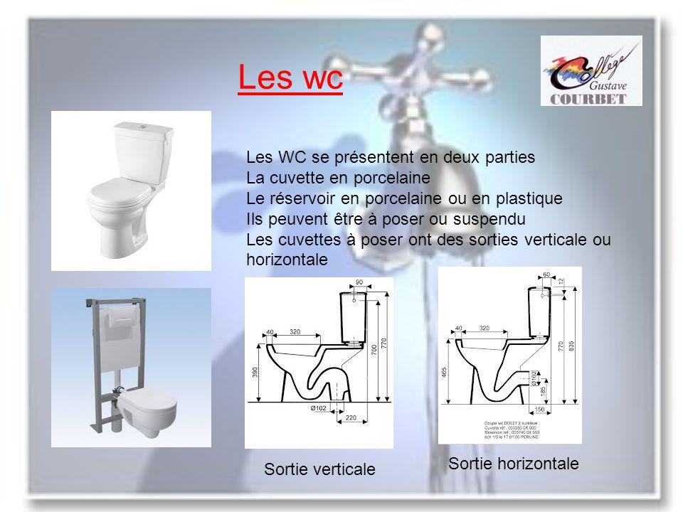Les wc Les WC se présentent en deux parties La cuvette en porcelaine Le réservoir en porcelaine ou en plastique Ils peuvent être à poser ou suspendu L