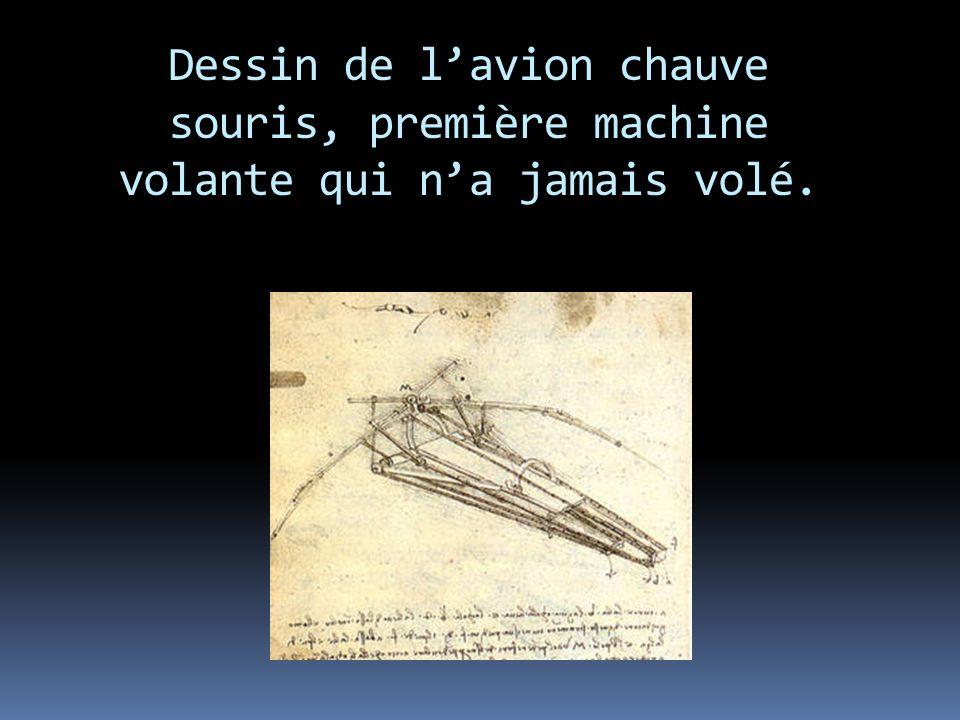 Dessin de lavion chauve souris, première machine volante qui na jamais volé.