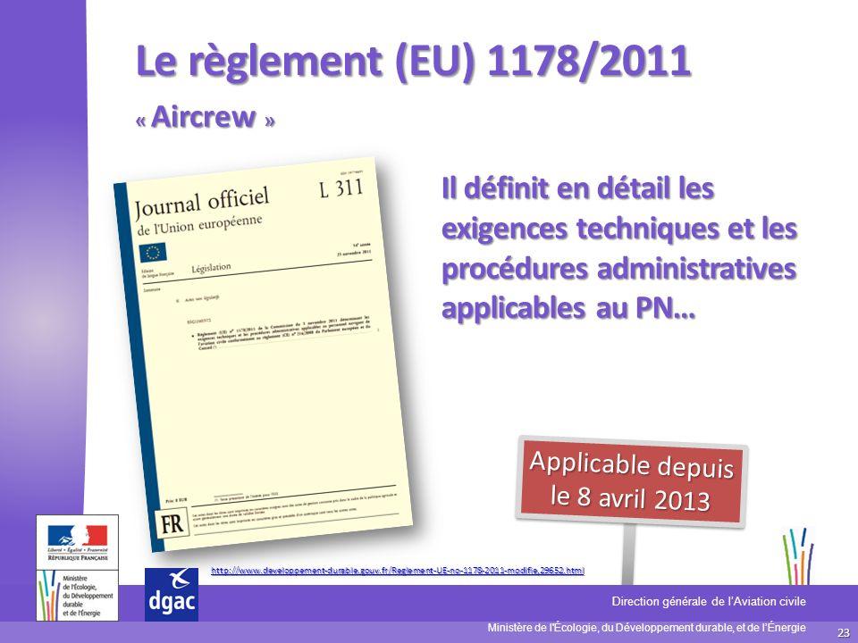23 Ministère de l'Écologie, du Développement durable, et de lÉnergie Direction générale de lAviation civile D S A C Le règlement (EU) 1178/2011 Il déf