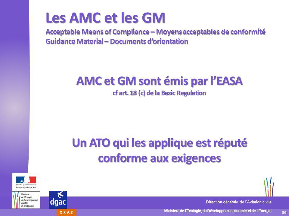30 Ministère de l'Écologie, du Développement durable, et de lÉnergie Direction générale de lAviation civile D S A C Les AMC et les GM Acceptable Means
