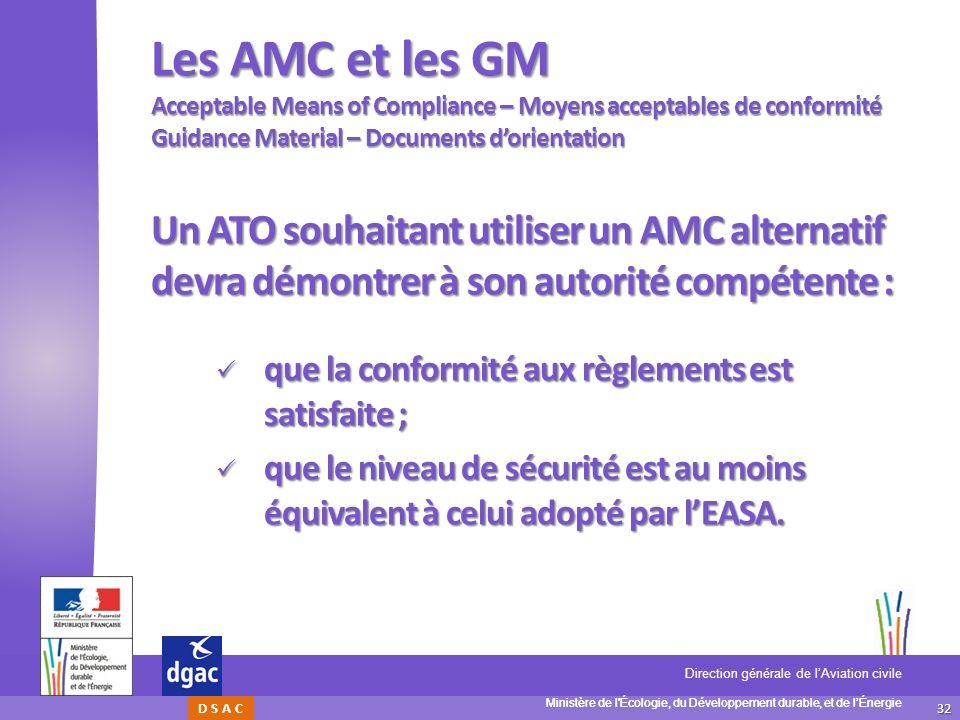 32 Ministère de l'Écologie, du Développement durable, et de lÉnergie Direction générale de lAviation civile D S A C Les AMC et les GM Acceptable Means