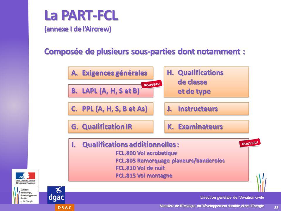 33 Ministère de l'Écologie, du Développement durable, et de lÉnergie Direction générale de lAviation civile D S A C La PART-FCL (annexe I de lAircrew)