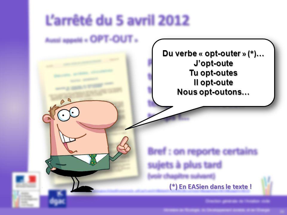 37 Ministère de l'Écologie, du Développement durable, et de lÉnergie Direction générale de lAviation civile D S A C Du verbe « opt-outer » (*) … Jopt-