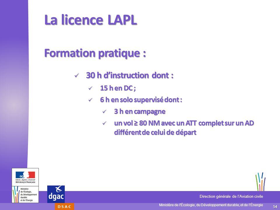 54 Ministère de l'Écologie, du Développement durable, et de lÉnergie Direction générale de lAviation civile D S A C La licence LAPL Formation pratique