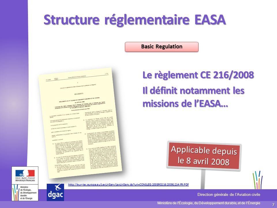 7 Ministère de l'Écologie, du Développement durable, et de lÉnergie Direction générale de lAviation civile D S A C Structure réglementaire EASA Basic