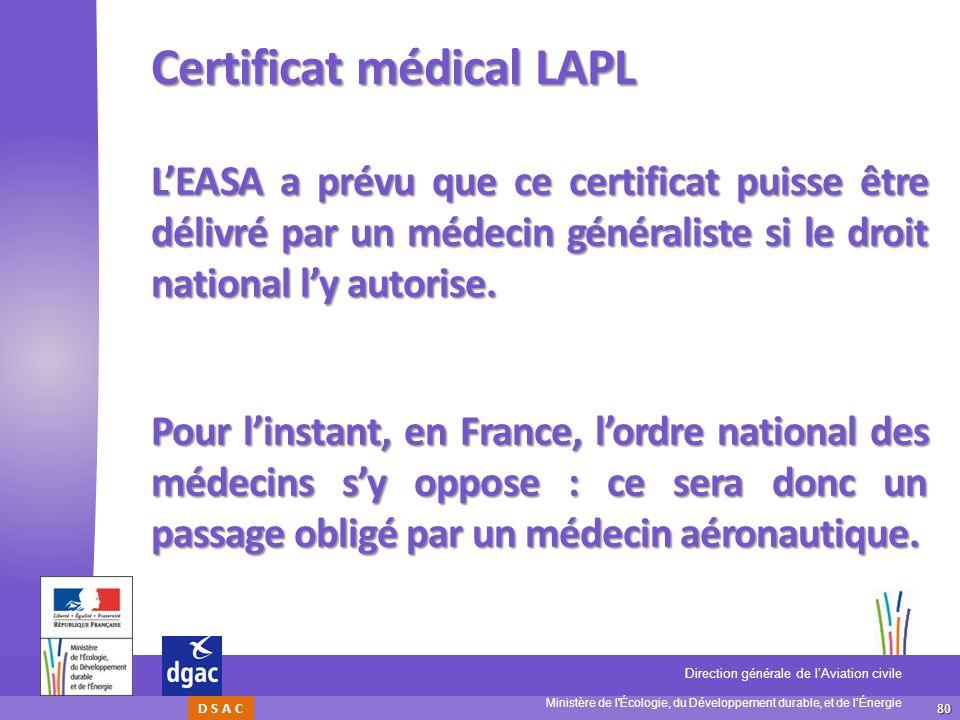 80 Ministère de l'Écologie, du Développement durable, et de lÉnergie Direction générale de lAviation civile D S A C Certificat médical LAPL LEASA a pr
