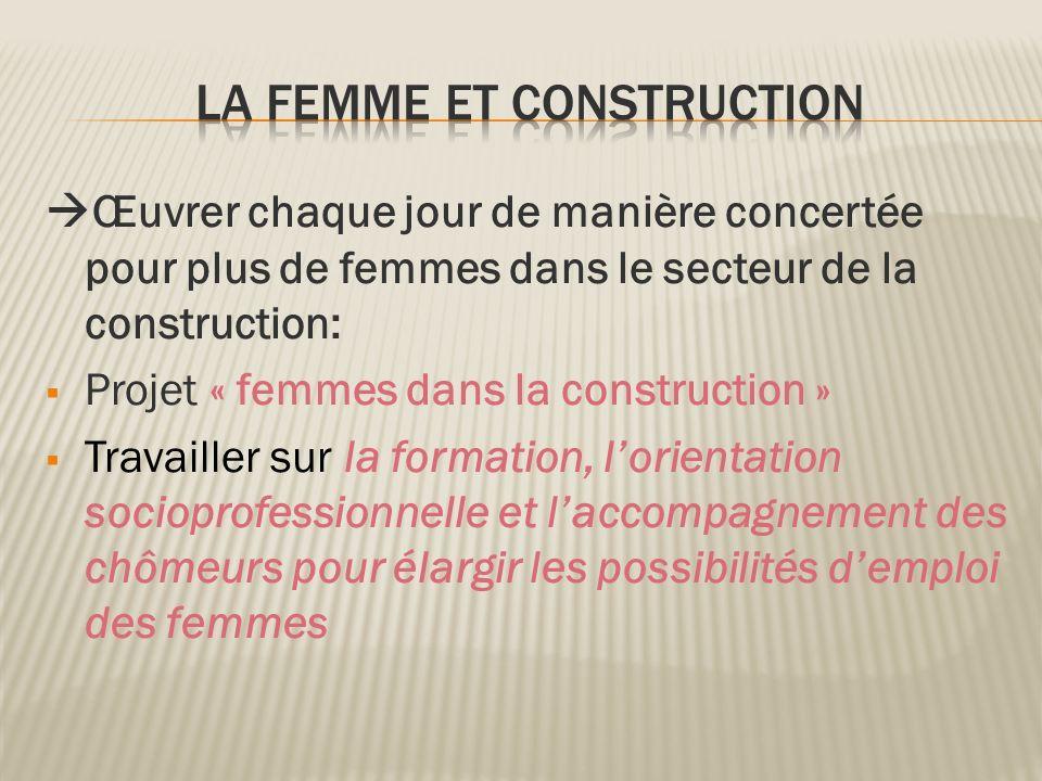 Œuvrer chaque jour de manière concertée pour plus de femmes dans le secteur de la construction: Projet « femmes dans la construction » Travailler sur