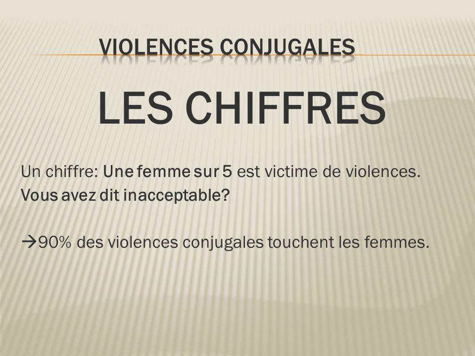 LES CHIFFRES Un chiffre: Une femme sur 5 est victime de violences. Vous avez dit inacceptable? 90% des violences conjugales touchent les femmes.