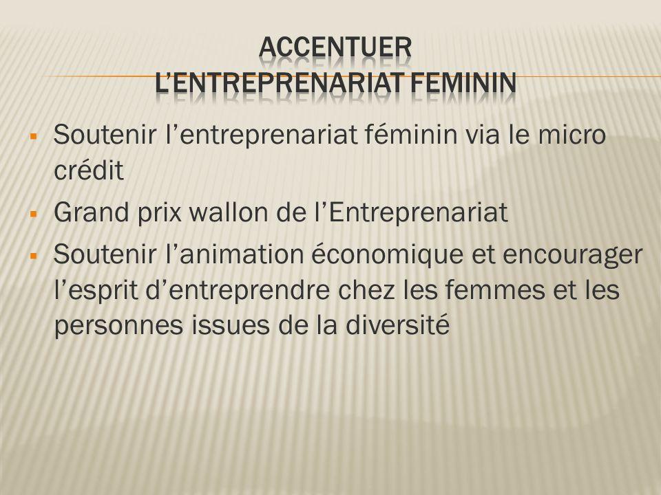 Soutenir lentreprenariat féminin via le micro crédit Grand prix wallon de lEntreprenariat Soutenir lanimation économique et encourager lesprit dentrep