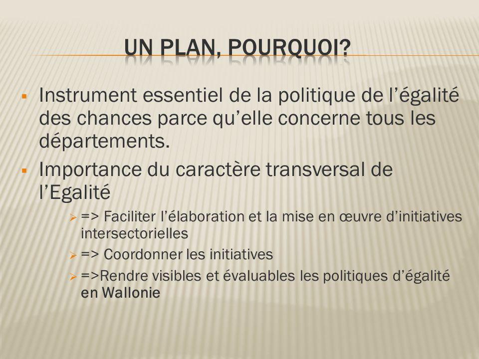 Instrument essentiel de la politique de légalité des chances parce quelle concerne tous les départements. Importance du caractère transversal de lEgal