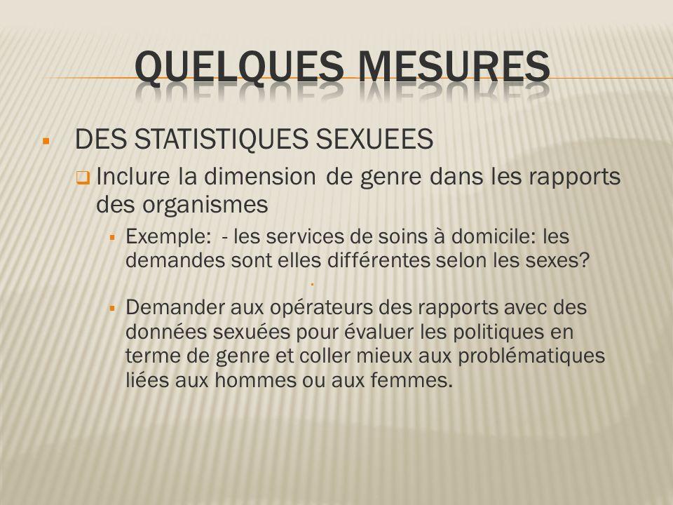 DES STATISTIQUES SEXUEES Inclure la dimension de genre dans les rapports des organismes Exemple: - les services de soins à domicile: les demandes sont